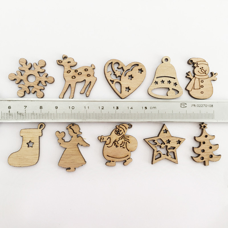 Image 2 - 50/100PCS New Year Natural Wood Christmas Decoration For Home Wooden Christmas Tree Ornament Hanging Pendants Gifts Elk Decora-in Pendant & Drop Ornaments from Home & Garden