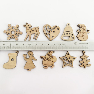 Image 2 - 50/100PCS New Year Natural Wood Christmas Decoration For Home Wooden Christmas Tree Ornament Hanging Pendants Gifts Elk Decora