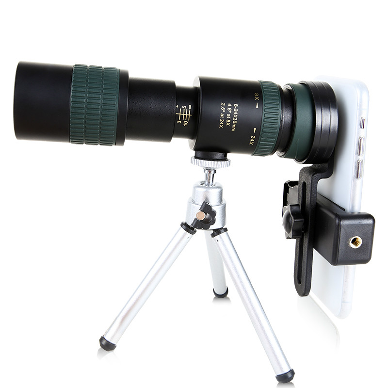 Монокулярный телескоп 8-24x30 с зумом для смартфона, Высококачественный Мощный складной BAK4 выдвижной охотничий Оптический Портативный