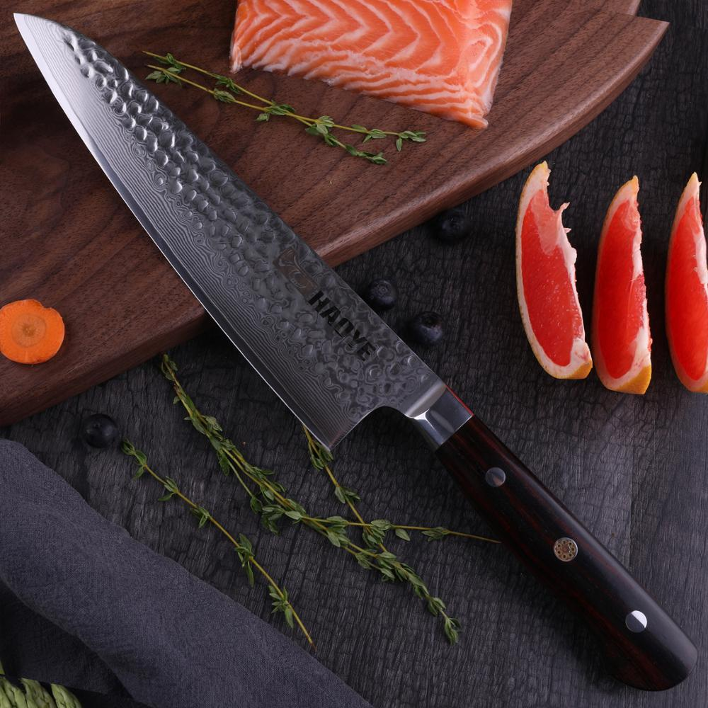 HAOYE 8.5 inch Japanese Damascus vg10 steel chef knife Gyuto kitchen knives Forged Hammered Classic Full Tang Rosewood Handle|Kitchen Knives| |  - title=
