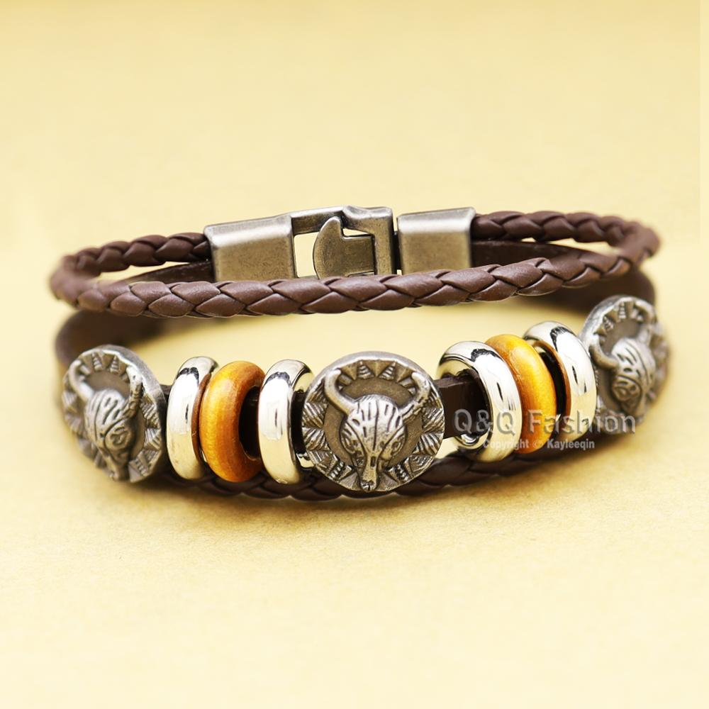 Western <font><b>Longhorn</b></font> Bull <font><b>Charm</b></font> Layers Leather Strap Buckle Bracelet Bangle Cuff Pulseira Masculina Cuff Men Jewelry image