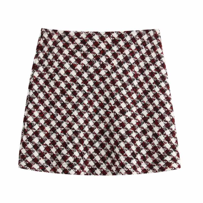 2020 Women Vintage Contrast Color Checked Plaid Back Zipper Casual Slim Skirt Faldas Mujer Spring Ladies Retro Mini Skirt QUN554