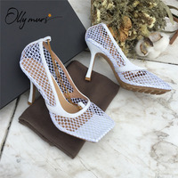 OllyMurs New Style Sexy Air Mesh Metal Chain Women Pumps Sexy Square Toe Thin High Heels Ladies Party Wedding Pumps Shoes Women