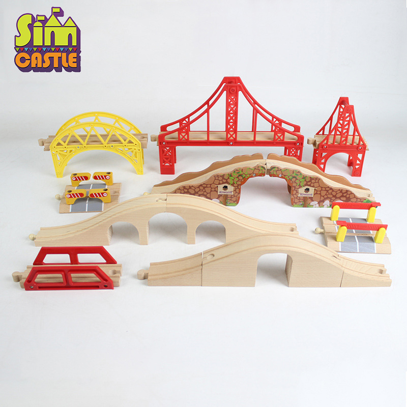 Железнодорожные поезда, деревянные игрушки для детей, Обучающие деревянные блоки, железнодорожная станция для мальчиков, игрушечный автомобиль, крест, светофорный туннель, мост