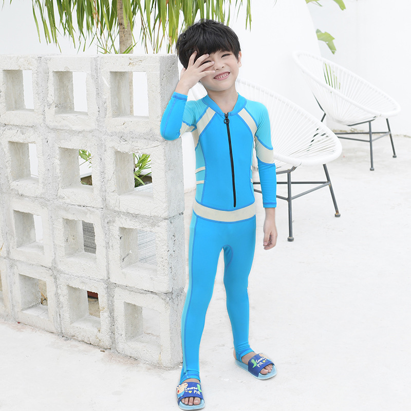 2020 KID'S Swimwear Men And Women Children One-piece Kids Baby Sun-resistant Diving Suit Long Sleeve Trousers Big Boy Swimming S