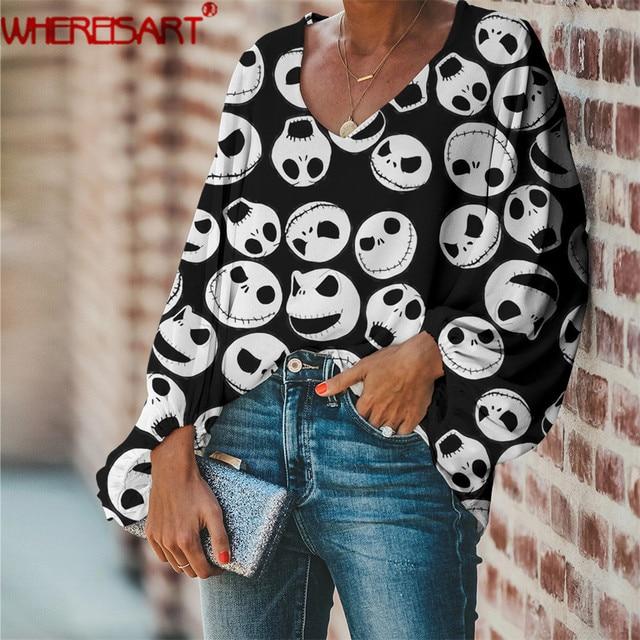 WHEREISART Nightmare before Christmas Women Deep V-neck Shirts 2020 Plus Size Ladies Tops Blouse Halloween Design Fashion Blouse 1