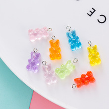 Handmade Key Chain Cha Stainless Steel Cute Bear Keychains Colorful Candy Color Animal Resin Pendant Women Jewelry Bag Accessory