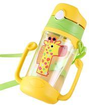 Дети ребенок бутылка воды мультфильм портативный ребенок герметичность соломы воды для бутылки кружки-непроливайки с ремешком 400 мл