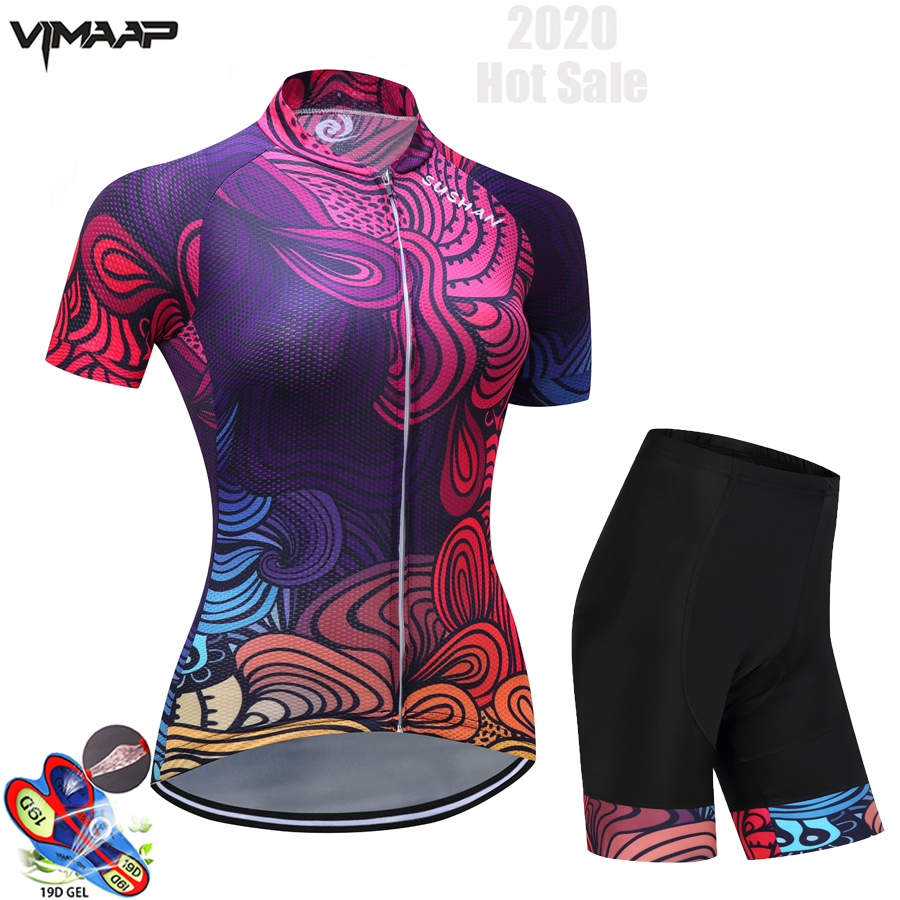 New Women Pro Cycling Short Sleeve Jersey Set Summer Breathable Sports Suit MTB Bike Clothing Female Bicycle Clothes Casual Wear