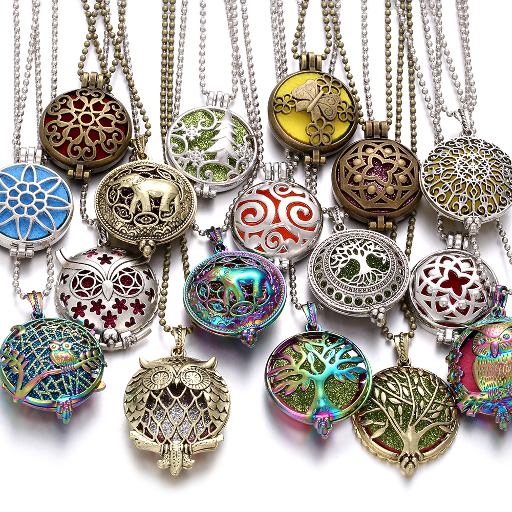 1pcs Aroma Diffuser Necklace Open Vintage Lotus Flower Locket Pendant Perfume Essential Oil Aromatherapy Necklace with 10pcs Pad