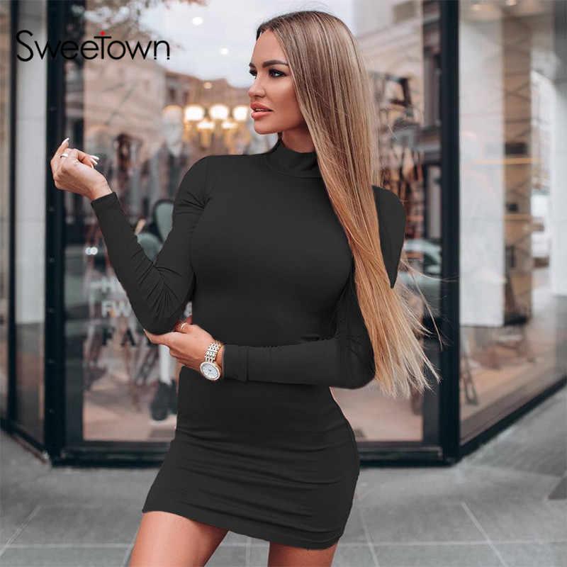 Sweetown, черное облегающее платье с высоким воротом для женщин, Осень-зима 2019, Клубное платье с длинным рукавом, женские Базовые платья, элегантные платья