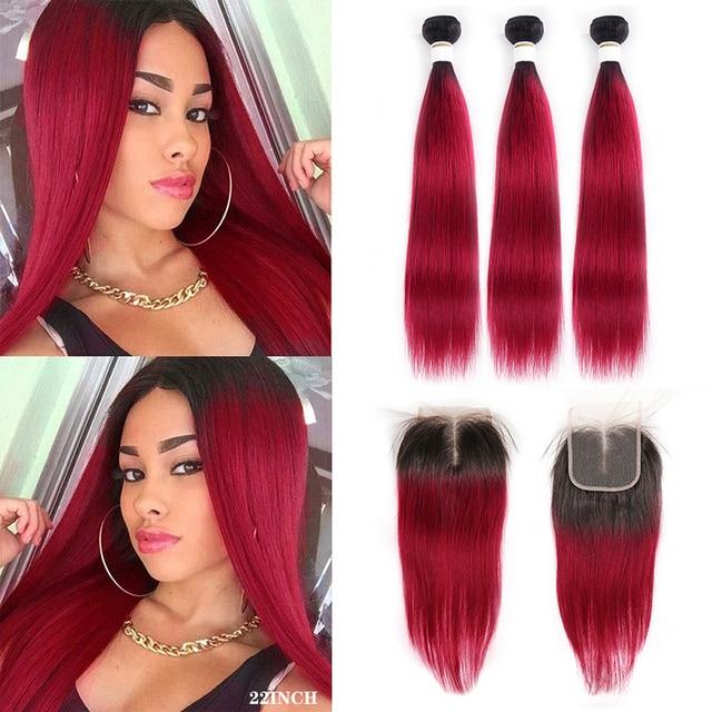 1B 99J/pasma burgundowych ludzkich włosów z zamknięciem KEMY włosów brazylijski proste włosy typu Ombre splot wiązek z zamknięciem 4x4 nie Remy