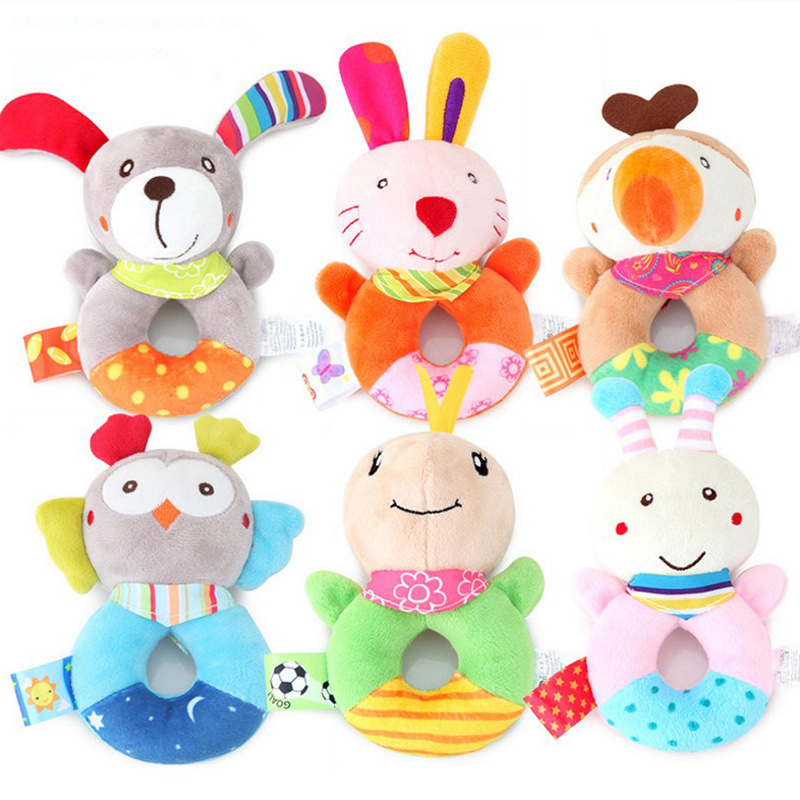 Baby Toys Soft Plush Infant Development Animal Handbells Rattles Toy Hand Bell Interactive Newborn Gift Toys For Baby 0-12 Month