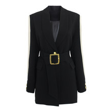 Women Blazer Feminino Metal Gold Buckle Belt Black Blazers Femme Fashion Ladies Jacket Coat Outwear Mujer 2019 High Quality(China)