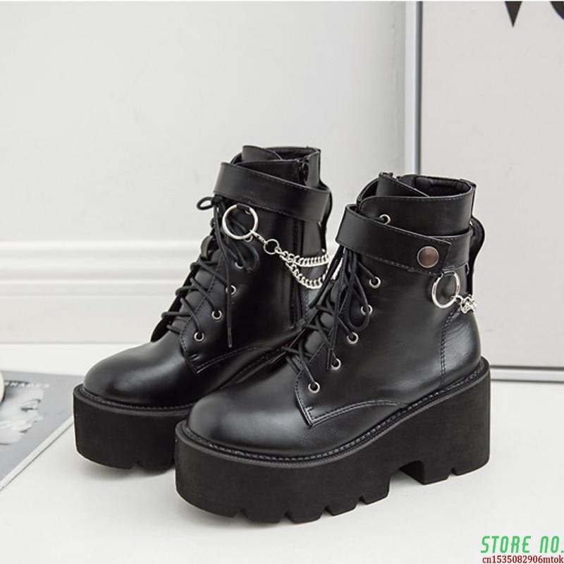 Boussac Metal Chains Chunky Platform Women's Boots Round Toe Martin Boots Women Winter Black Punk Goth Boots SWE0872