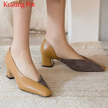 Krazing Pot new mixed colors genuine leather small square toe high heels office lady daily wear slip on women elegant pumps L09