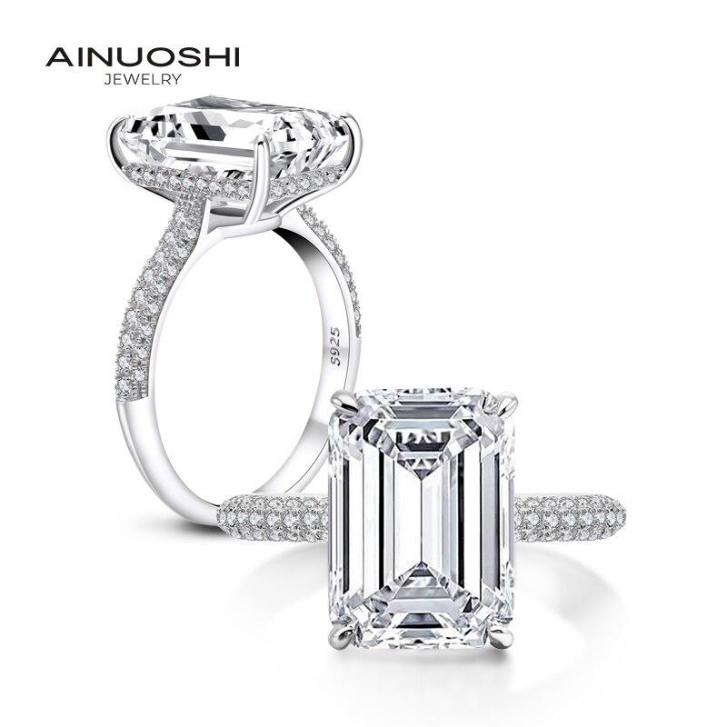 AINOUSHI 925 en argent Sterling anneaux pour femmes 6ct émeraude coupe Halo anneaux Rose or couleur argent bijoux bague femme argent 925