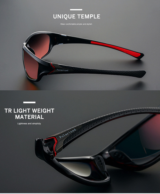 red lens and frame polarized sunglasses for men