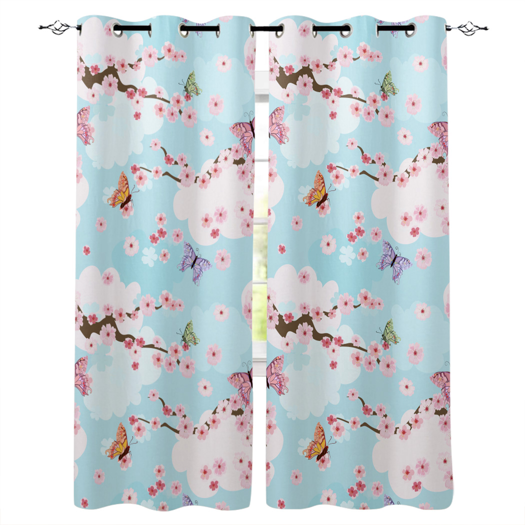 Butterfly Flower Cherry Blossom Pink Window Curtains Cartoon Living Room Kitchen Curtains For Bedroom Left And Right Open Curtains Aliexpress