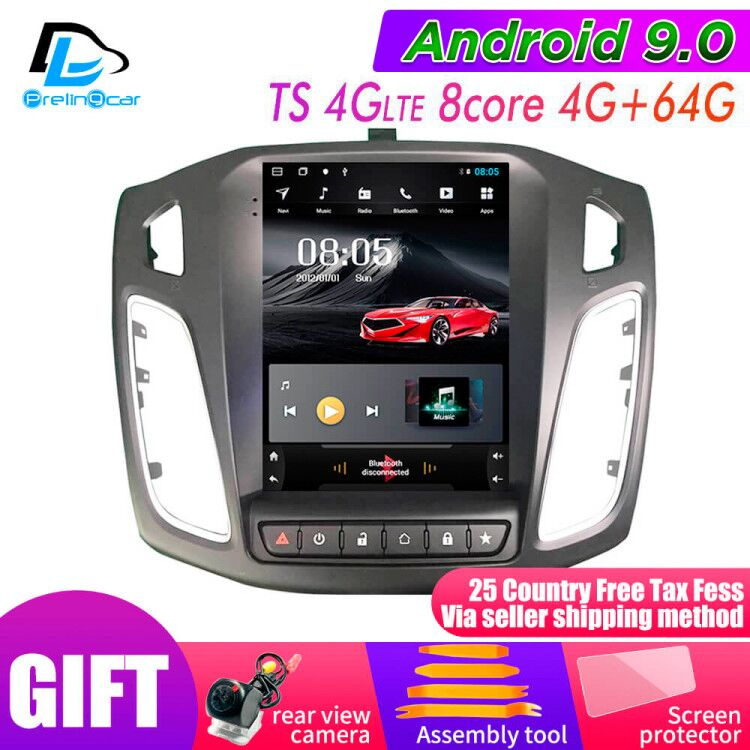 32G ROM Vertical screen android 9.0 car <font><b>gps</b></font> multimedia video radio player for <font><b>ford</b></font> <font><b>focus</b></font> salon 2012-2016 years navigation stereo image