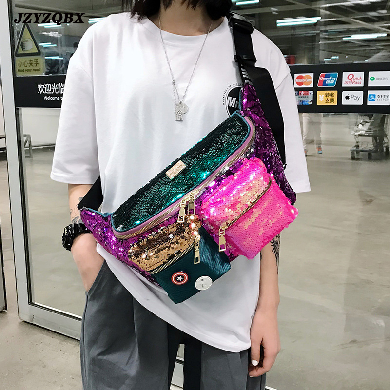 Female Bag Double Color Sequins Waist Bag Multiple Pockets Hip Bag Large Capacity Banana Bag Woman Bum Bag