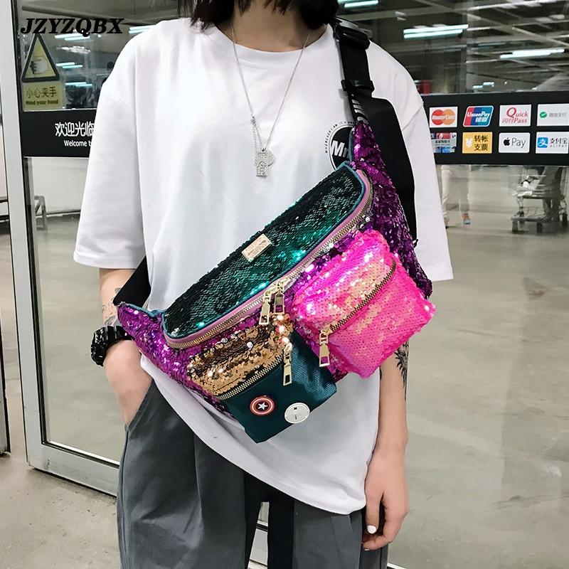 Female Bag Double Color Sequins Waist Bag Multiple Pockets Hip Bag Large Capacity Banana Bag Woman Bum Bag