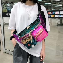 цена на Female Bag Double Color Sequins Waist Bag Multiple Pockets Hip Bag Large Capacity Banana Bag Woman Bum Bag