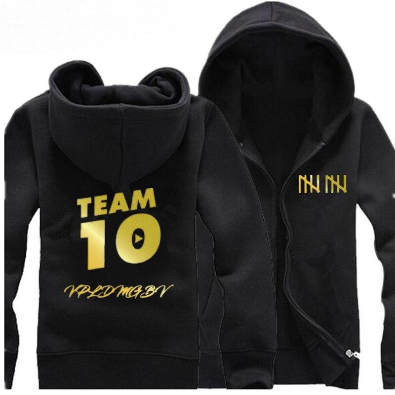 New Winter Fashion Unisex TEAM 10 Inspired Logan Jake Paul Logang Youtuber Zipper Hoodie Hoody Cotton Fleece Hoodie Sweatshirt