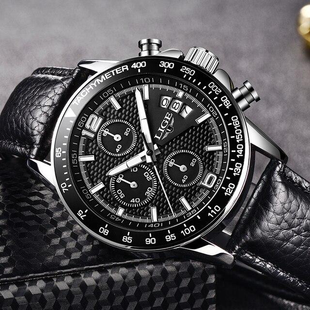 Фото часы наручные lige мужские кварцевые брендовые роскошные полностью