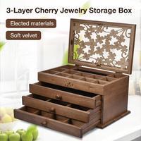 3 Layer Jewelry Storage Box Wooden Jewelry Earrings Necklace Hairpin Drawers Dark Brown Storage Organizer Case