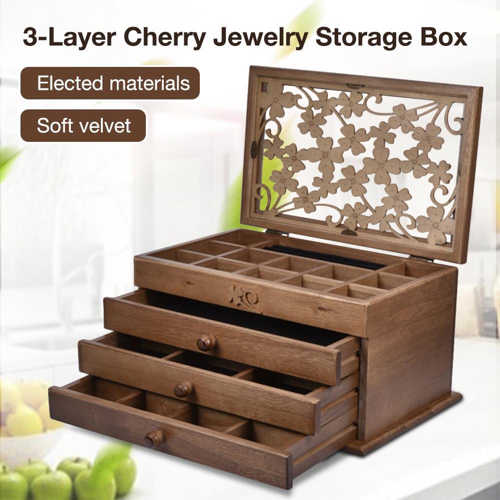 Boîte de rangement bijoux 3 couches boucles d'oreilles bijoux en bois collier épingle à cheveux tiroirs brun foncé organisateur de rangement