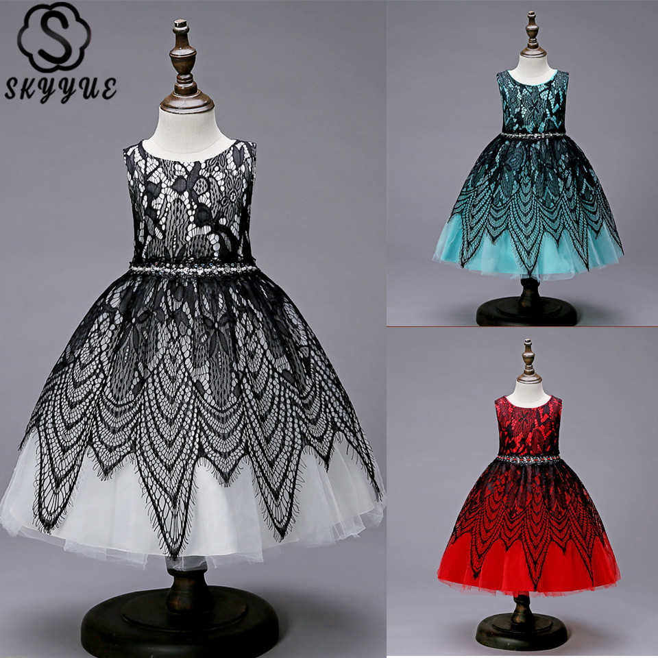 Skyyue Lace Embroidery Flower Girl Dresses for Wedding Sleeveless O-Neck Kid's Party Communion Dress O-Neck 2019 155
