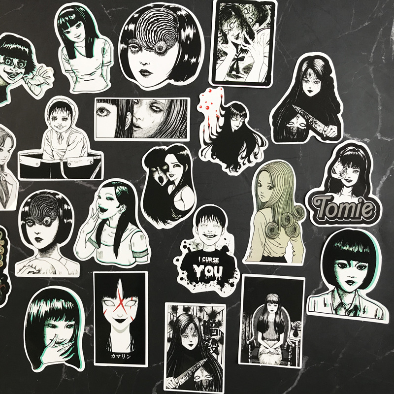 21Pcs Horror Comics Stickers Japanese Anime  Decal for Snowboard Laptop Luggage Car Fridge Car-Styling Vinyl Home