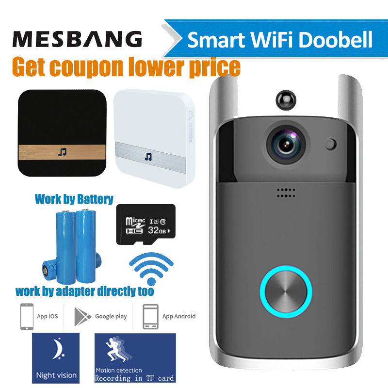 Video Doorbell Chime Camera Battery-Power Phone-Calling Wifi Wireless with Tf-Card title=