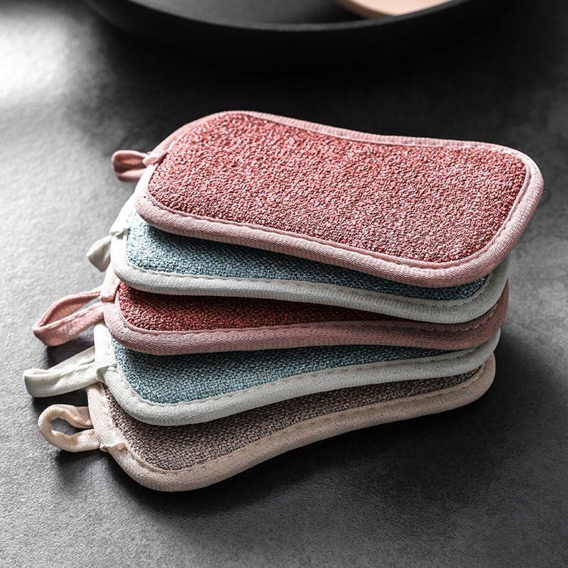Многоразовая двухсторонняя губка из микрофибры для мытья посуды, 4 шт., разные цвета