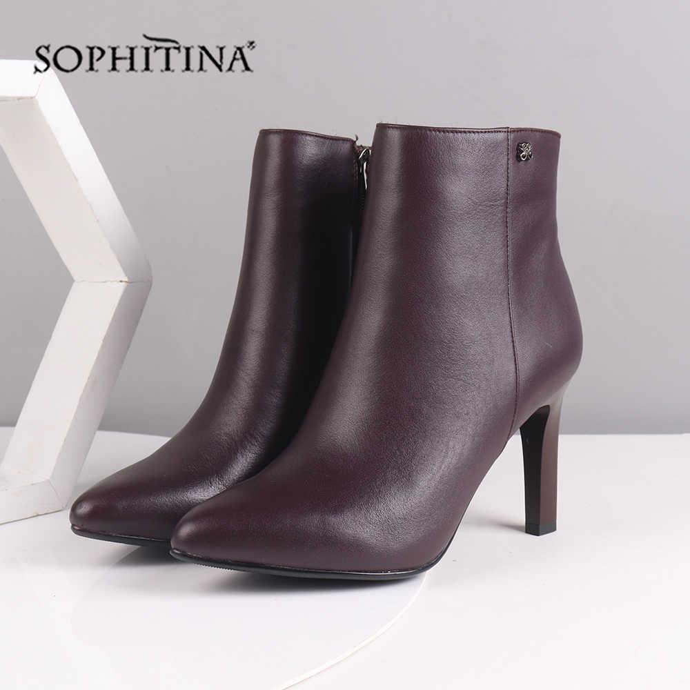 SOPHITINA סקסי מחודד הבוהן מגפי עור אמיתי באיכות גבוהה דק העקב אופנה רוכסן מוצק נעליים חדש נשים של קרסול מגפיים SC219