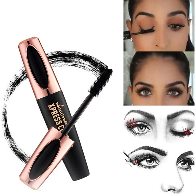 Waterproof 4DSilk Fiber Eyelash Thick Lengthening Black Mascara Fashion Sexy Makeup Cosmetics Eye Lash Extension Cream Eyelashes 4