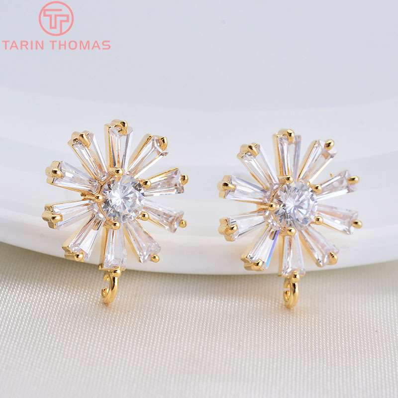 4PCS 12x15MM 24K Gold Color Brass with Zircon Flower Stud Earrings High Quality Diy Jewelry Findings Accessories