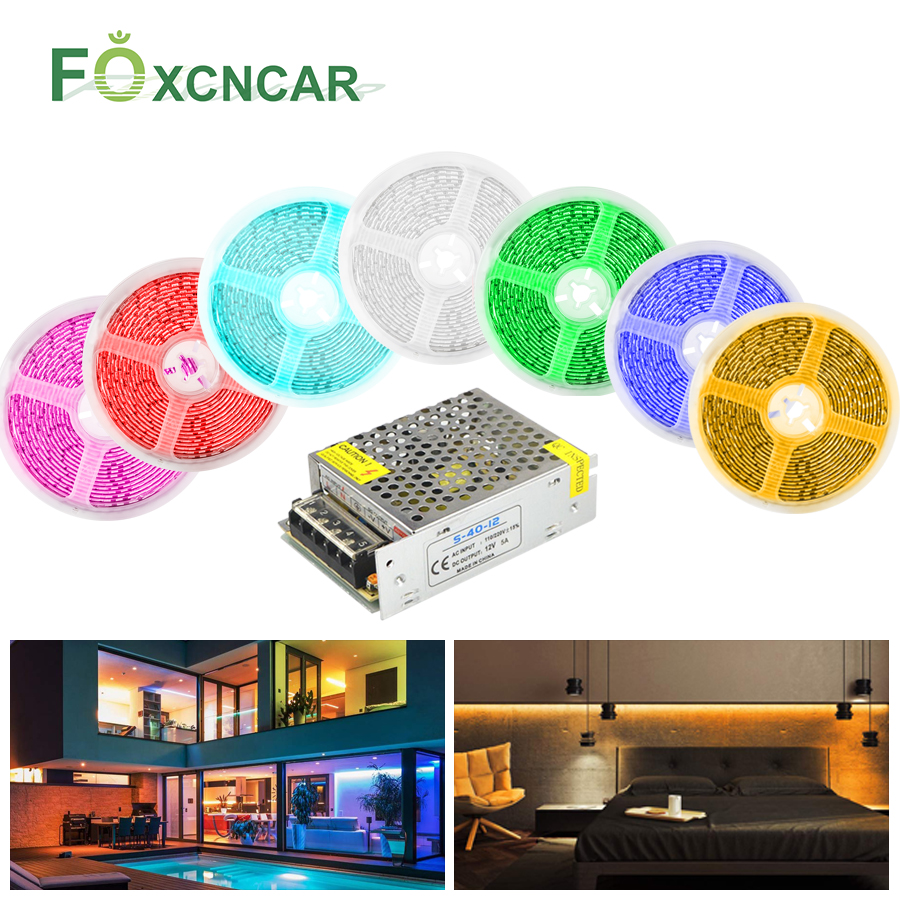 SMD 5054 LED Strip Light DC 12V Waterproof Tape Kitchen Under Cabinet Light With 5A Power Supply Luces LED Decoracion Dormitorio