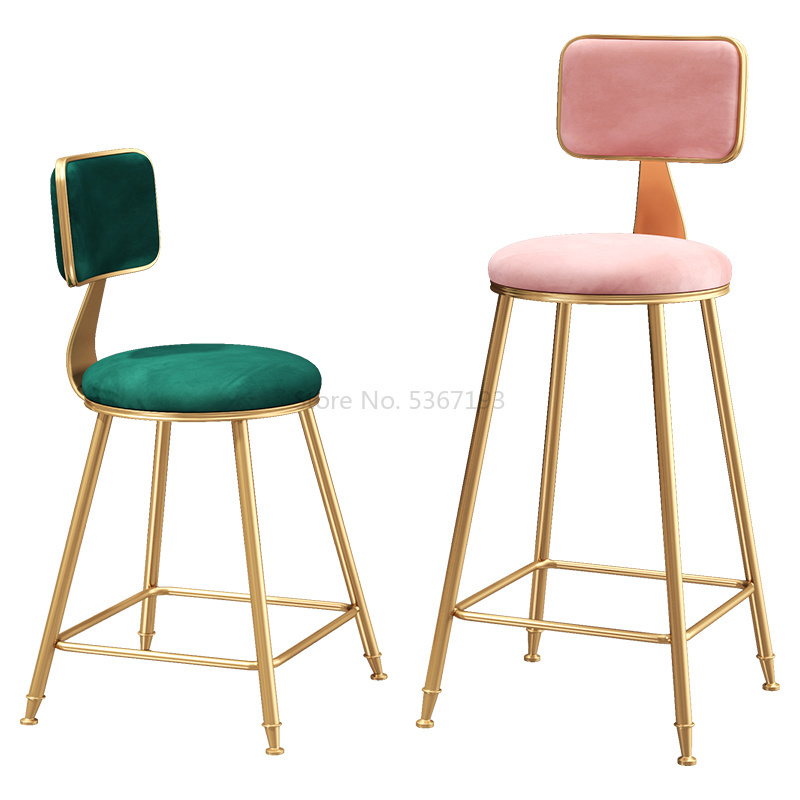 Nordic Furniture Bar Chair  Commercial Furniture Simple Iron Bar Dining Chair Modern Cafe Leisure High Stool