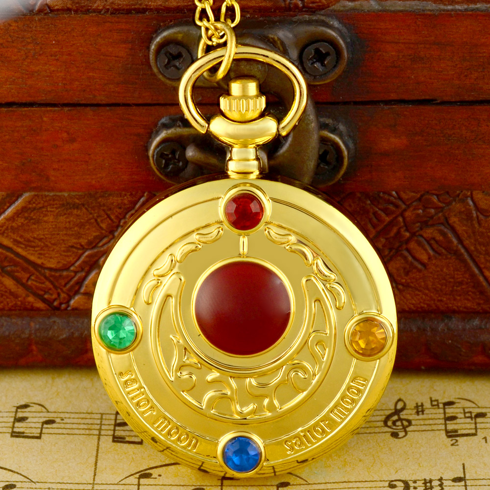 IBEINA New Fashion Sailor Moon Crystal Gold Quartz Pocket Watch Charm Men Women Pendant Necklace Clock Gift