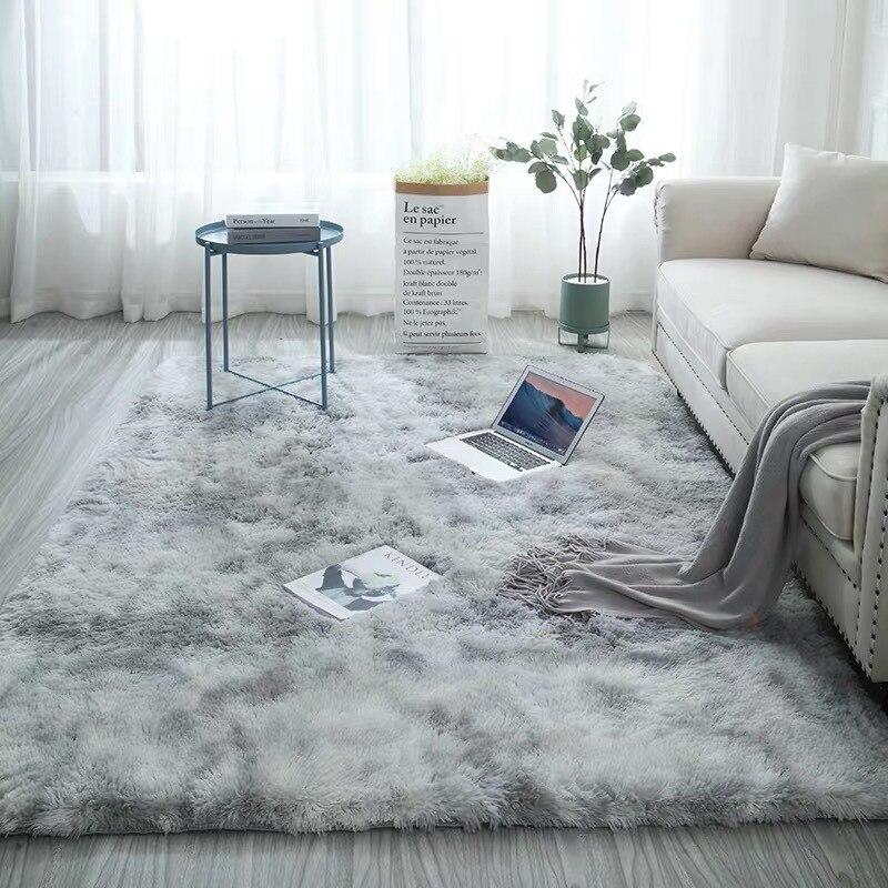 Европейский ковер для спальни с длинными волосами, эркер, прикроватный коврик, моющееся одеяло, градиент цвета, ковер для гостиной, серый, си...