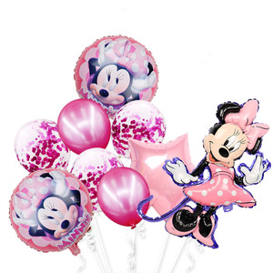 Minnie mouse foil balloons mickey 1st birthday party decorations kids ballon number 1 globos baby shower confetti latex ball toy(China)
