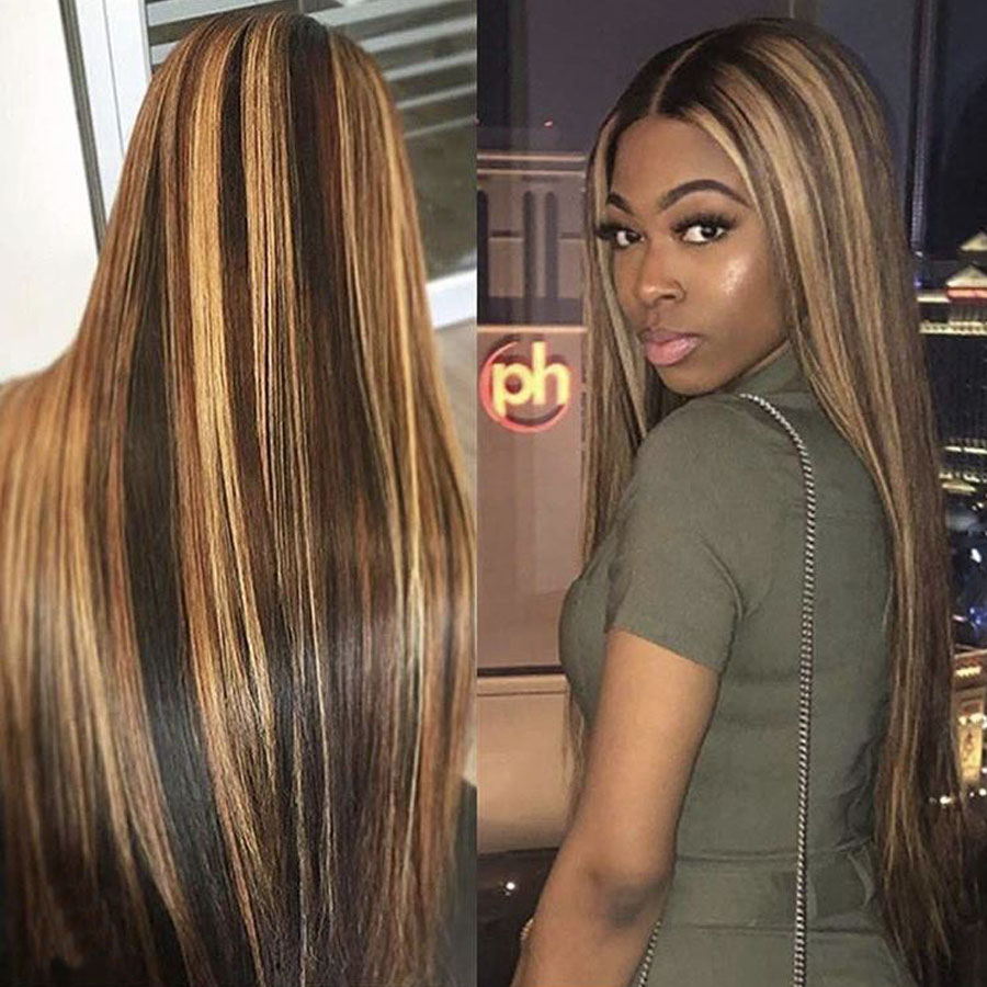 Haever Straight Hair Bundles Brazilian Hair Weave Bundles Human Hair Bundles Honey Blonde Highlight Hair Color #4/27 Remy Hair