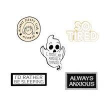 Chcę spać emaliowany Pin zabawny leniwy zmęczony niespokojny zdezorientowany prostokątny Slogan magnetyczny znaczek broszki przypinka dla przyjaciół