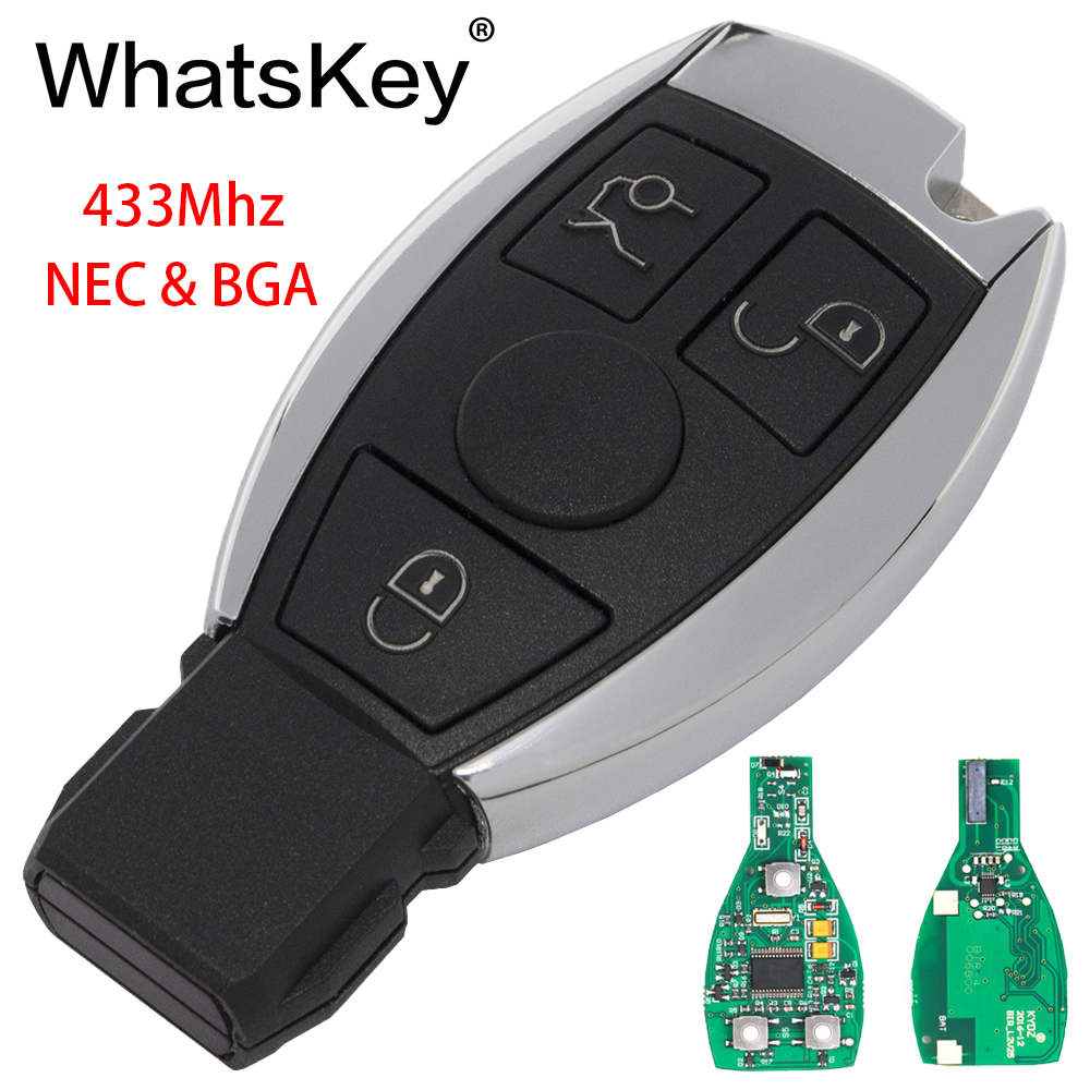 WhatsKey 3 Buttons Car Key Remote For Mercedes Benz 2000+ NEC&BGA Control 433MHz