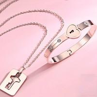 homocentric lock lovers bracelet a pair fine silver necklace lock interlocking key bracelet Lovers bracelet gift baroness