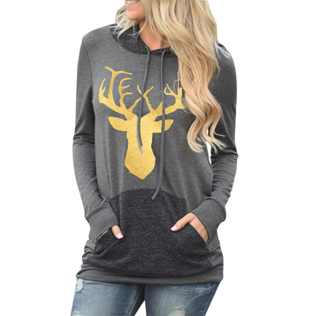 2020 New Social Harajuku Hoodies For Girls Solid Color Tops Women's Sweatshirt Long-sleeved Winter  Christmas Elk Print Coat