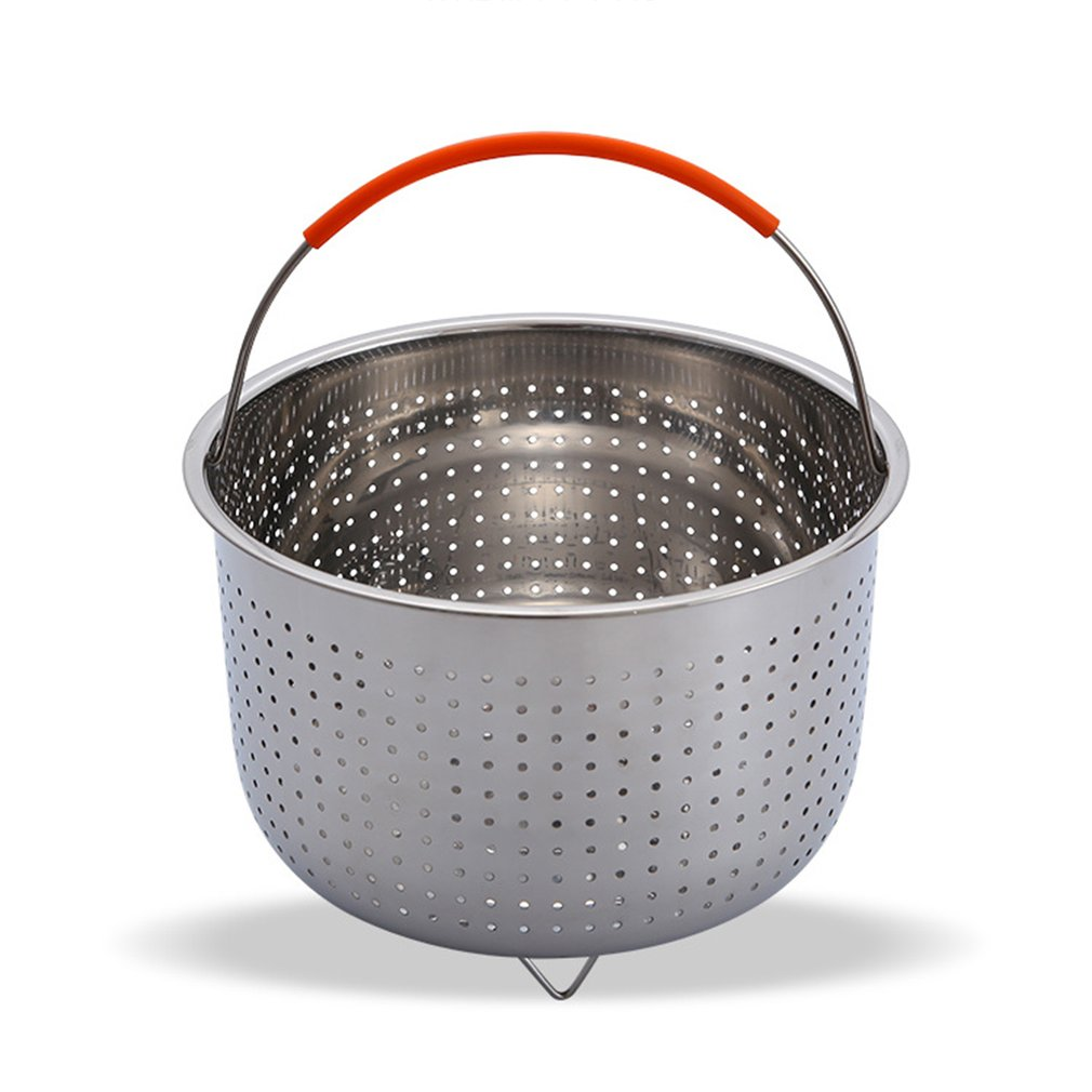 Thicken Deepening Multi-function Stainless Steel Basket Fruit Plug-in Silicone Handle Pressure Cooker Steam Basket Hot