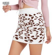 Kureas Women Knitted Short Skirt Leopard Print Wool Fashion Mini Skirts Warm Winter Autumn Clothes